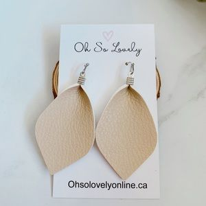Jewelry - 3/$30 Beige leather earrings
